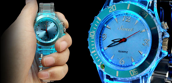 Rainbow Color Changing Fluorescent Fashion Wristwatches Blue Dial
