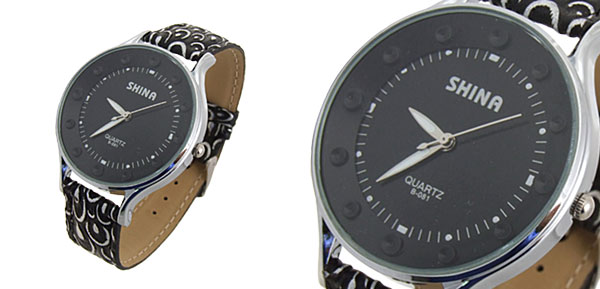 Fashion Jewelry Mushroom Pattern Black Band Lady Quartz Watch