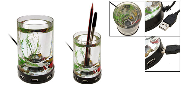 4 Ports Pen Holder USB Hub Transparent Aquarium design For Laptop Desktop