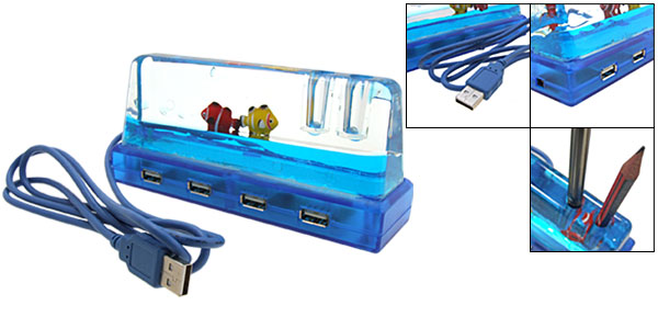 4 Ports 2 Pen Holder USB Hub blue Aquarium Design For Laptop Desktop