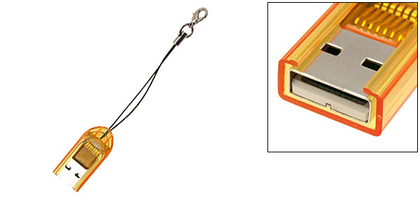Key Chain Transparent Brown Micro SD (T-Flash) Card Reader