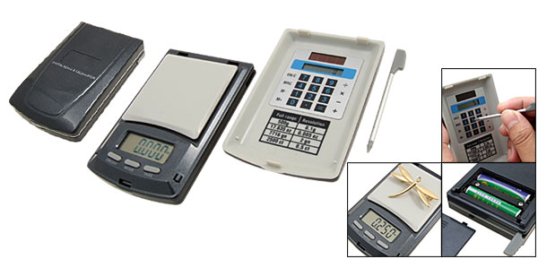 Portable Pocket Digital Scale + Solar Energy Calculator Black