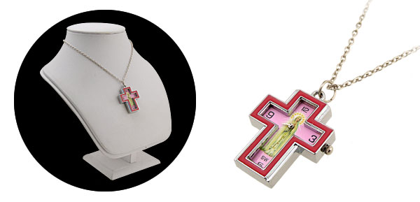 Fashion Jewelry Madonna Cross Pink Necklace Watches