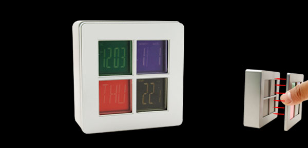 Magic Eye Shadow LCD Alarm Calendar Clock With Temperature Display