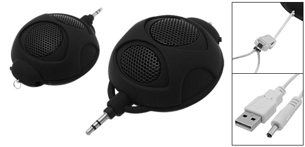 Mini Bug Stereo Speakers for MP3 Computer Mobile Telephone Black