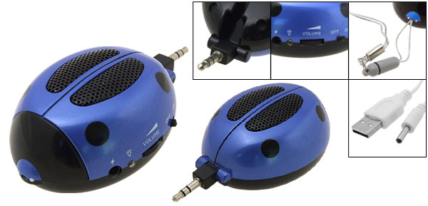 Blue Super Mini Ladybug Sound Speaker Box for MP3 MP4 iPod
