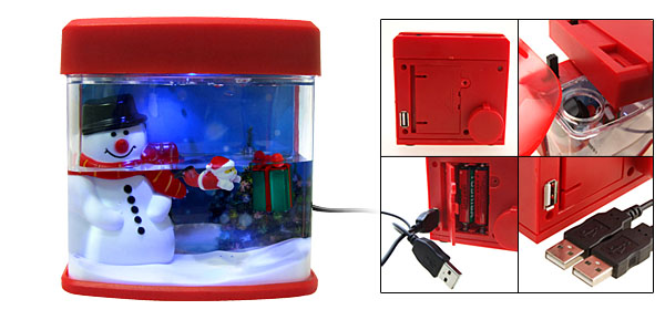 Mini X'mas Desktop Snowman USB Aquarium