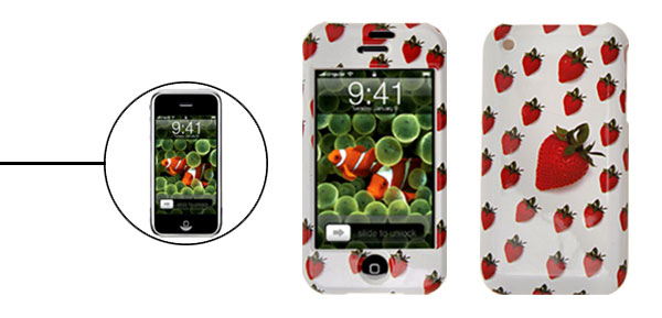 Plastic Protector Hard Case for Apple iPhone 1st Generation Strawberry