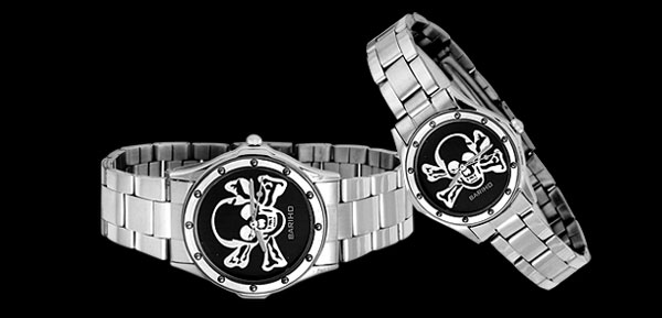 Fashion Jewelry Black Skull Stainless Steel Couple Watches