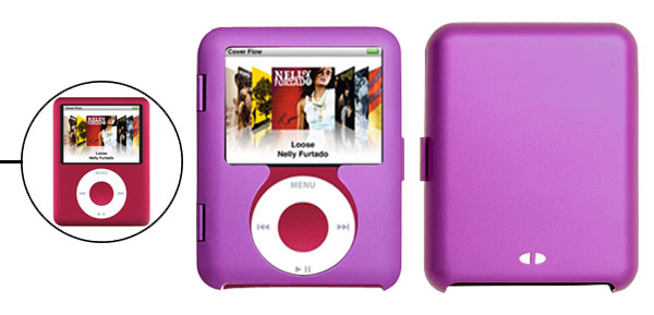 Aluminum Protector Hard Case For iPod Nano 3G Purple