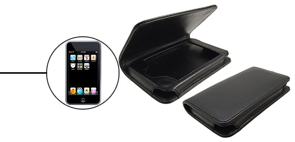 Black Horizontal Faux Leather Case for Apple iPod Touch 1st Generation