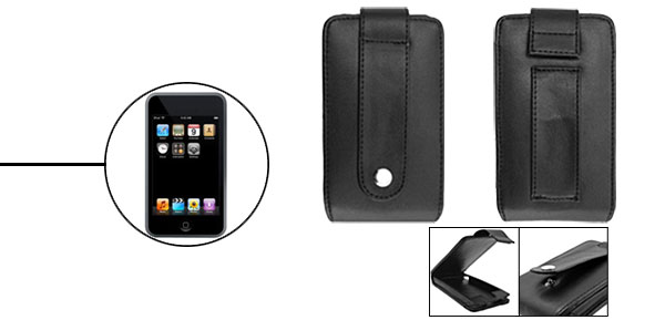 Black Artificial Vertical Leather Case for Apple iPod Touch with Flap and Clip 1st Generation