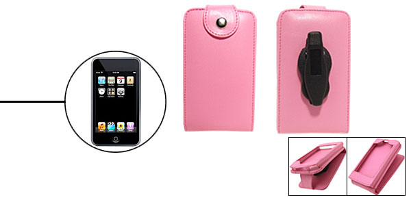 Pink Artificial Vertical Leather Case for Apple iPod Touch with Flap and Clip 1st Generation