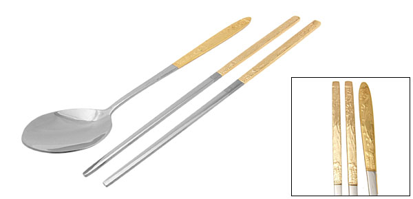 Oriental Culture Golden Phoenix  Steel Spoon Chopsticks Set - Mid-sized