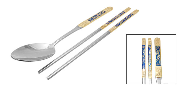 Orient Culture Golden Purfle Steel Spoon Chopsticks Set Middle-sized Blue