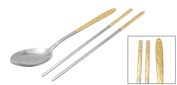 Orient Culture Golden Dragon Imagery Stainless Steel Spoon Chopsticks Set