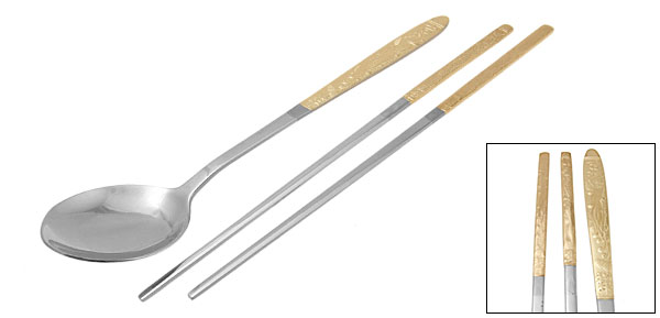 Orient Culture Golden Phenix Imagery Stainless Steel Spoon Chopsticks Set
