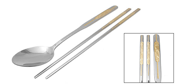 Orient Culture =Golden Purfle Steel Spoon Chopsticks Set
