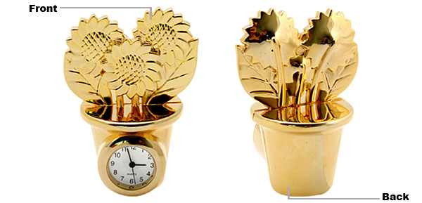 Fashion Unique Metal Golden Model Flowerpot Desk Clock