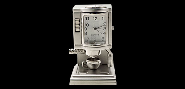 Coffee Expresso Machine Desk Clock - chrome