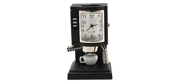 Coffee Expresso Machine Desk Clock - black