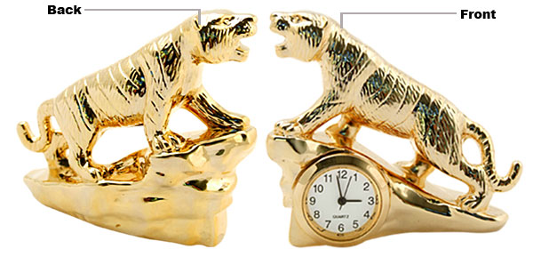 Fashion Unique Metal Golden Model Tiger Desk Clock