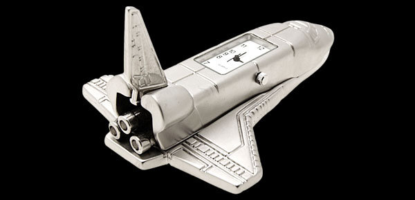 Silver Space Shuttle Desk Clock