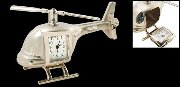 Fashion Unique Metal Silvery Model Helicopter Desk Clock