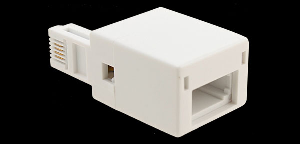 Male RJ11 US Plug to Female BT UK Telephone Socket Adapter