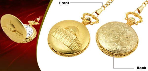 Fashion Jewelry Golden Embossed Palace Quartz Pocket Watch