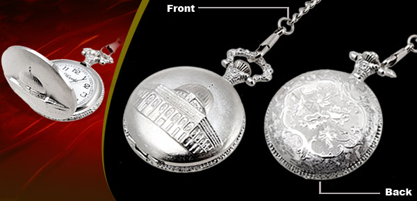 Fashion Jewelry Silver Embossed Palace Quartz Pocket Watch