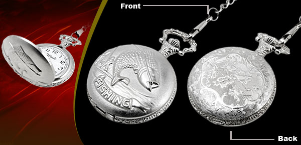 Fashion Jewelry Silver Embossed Fishing Quartz Pocket Watch