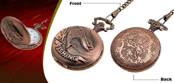 Fashion Jewelry Brass Embossed Fishing Quartz Pocket Watch