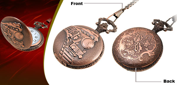 Fashion Jewelry Brass Embossed Train Quartz Pocket Watch