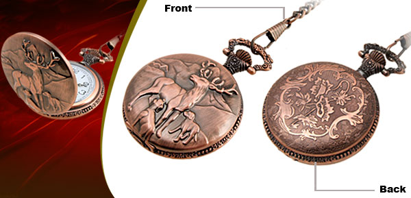 Fashion Jewelry Brass Embossed Deer Quartz Pocket Watch