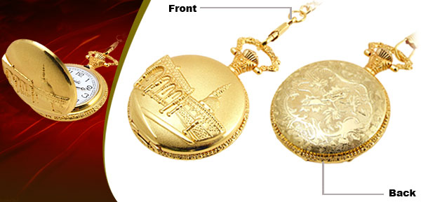 Fashion Jewelry Golden Embossed Building Quartz Pocket Watch