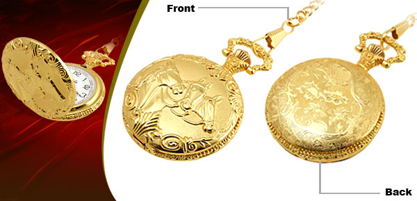 Fashion Jewelry Golden Embossed Horse Quartz Pocket Watch