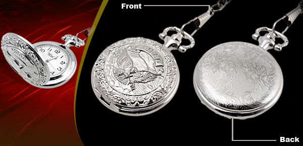 Fashion Jewelry Silver Embossed Eagle Quartz Pocket Watch