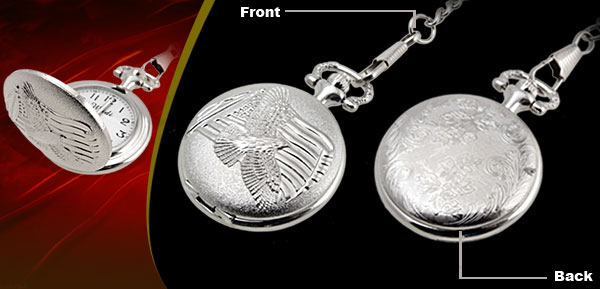Fashion Jewelry Silver Embossed Phenix Quartz Pocket Watch