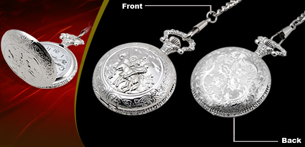 Fashion Jewelry Silver Embossed Cavalier Quartz Pocket Watch