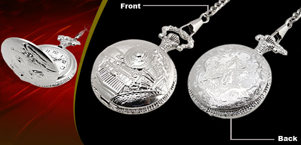 Fashion Jewelry Silver Embossed Train Quartz Pocket Watch