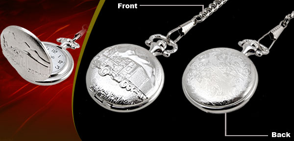 Fashion Jewelry Silver Embossed Van Pattern Quartz Pocket Watch