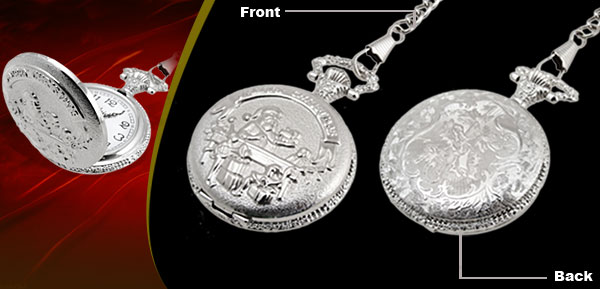 Fashion Jewelry Silver Embossed Santa Claus Quartz Pocket Watch