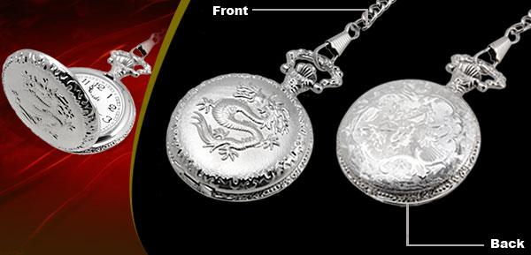 Fashion Jewelry Silver Embossed Dragon Quartz Pocket Watch