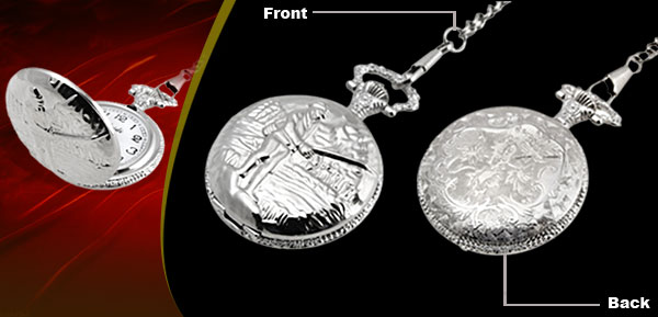 Fashion Jewelry Silver Embossed Boating Quartz Pocket Watch