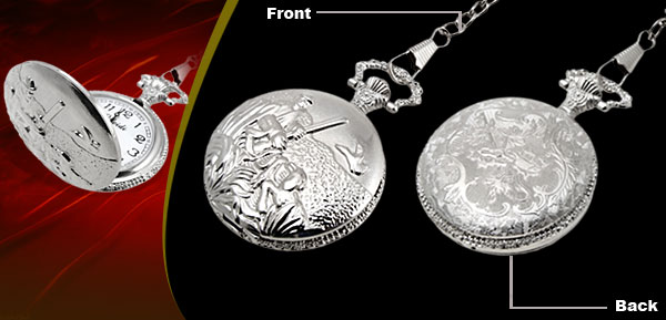 Fashion Jewelry Embossed Quartz Pocket Watch Silvery