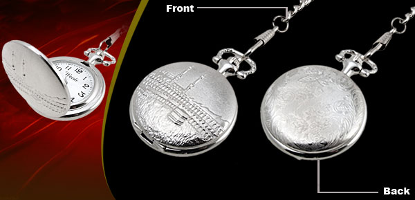 Fashion Jewelry Silver Embossed Building Quartz Pocket Watch