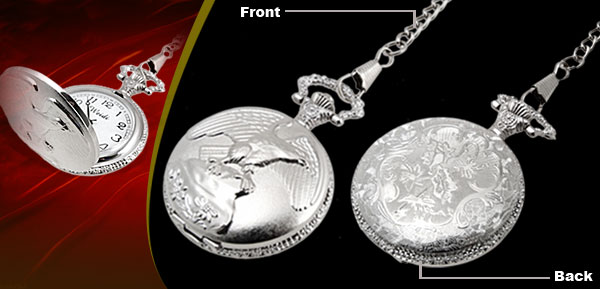 Fashion Jewelry Silver Embossed Glede Quartz Pocket Watch