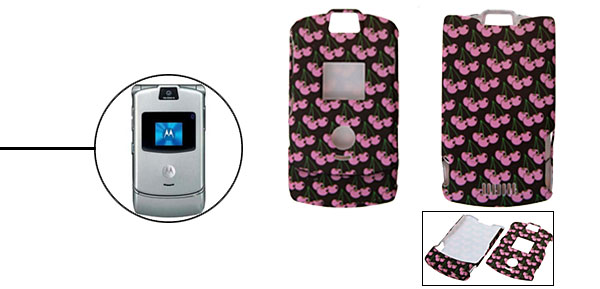 Pink Apple Pattern Protector Hard Cover Case Holder for Cell Phone Motorola V3 V3i V3m