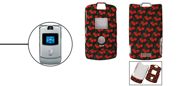 Red Apple Protector Hard Cover Case Holder for Cell Phone Motorola V3 V3i V3m
